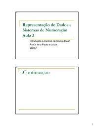 Representação de Dados e Sistemas de Numeração Aula 1