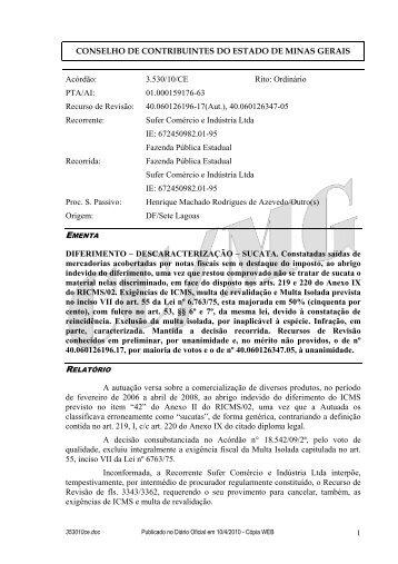 353010ce - Secretaria de Estado de Fazenda de Minas Gerais