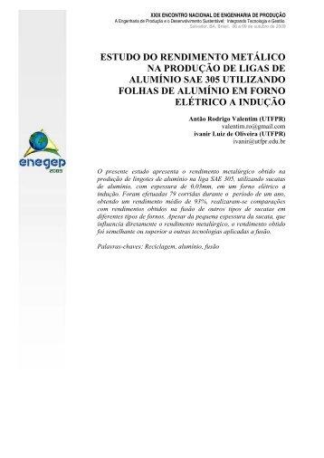 estudo do rendimento metálico na produção de ligas - UTFPR