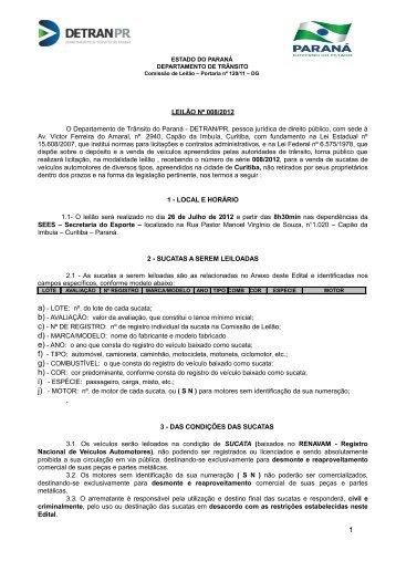 LEILÃO Nº 001/96 - Detran - Estado do Paraná