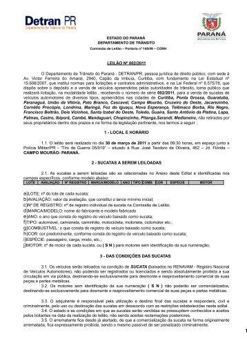 Nº 002 - Detran - Estado do Paraná
