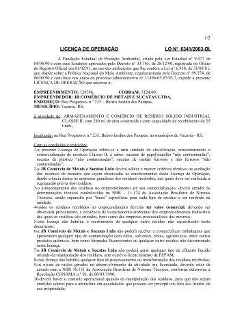 LICENÇA DE OPERAÇÃO LO N° 6341/2003-DL - Fepam