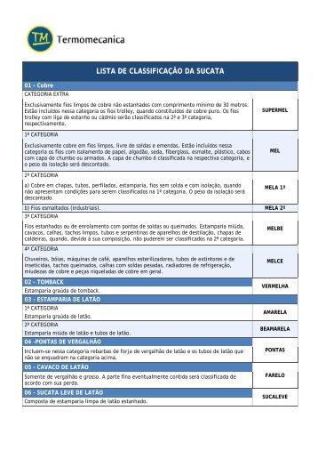 LISTA DE CLASSIFICAÇÃO DA SUCATA - Termomecanica