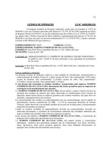 LICENÇA DE OPERAÇÃO LO N° 6450/2003-DL - Fepam