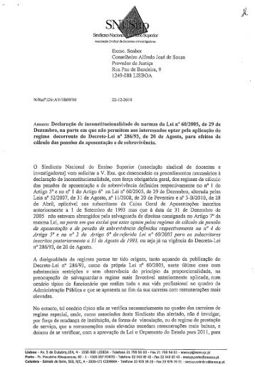 Exmo. Senhor Conselheiro Alfredo José de Sousa ... - SNESup