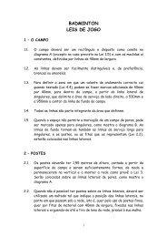 BADMINTON LEIS DE JOGO - Federação Portuguesa de Badminton