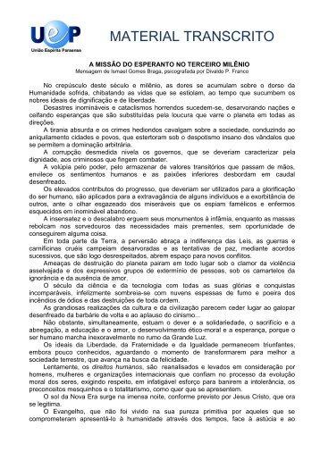 a missão do esperanto no terceiro milênio - União Espírita Paraense