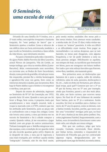 Manuel Picas de Carvalho, O Seminário, uma ... - Diocese de Braga