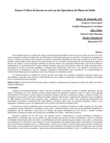 Fatores Críticos de Sucesso no start-up das Operadoras de ... - UFF