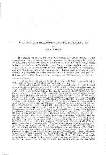 ION A. FLOREA, Consideraţii diacronice asupra sufixului - Anuar de ...