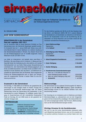 AUS DEM GEMEINDERAT IMPRESSUM - Gemeinde Sirnach