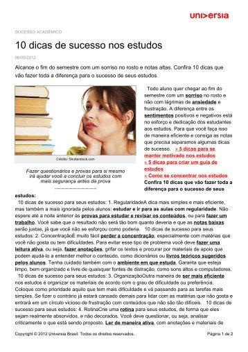 10 dicas de sucesso nos estudos - Universia - Universia Brasil