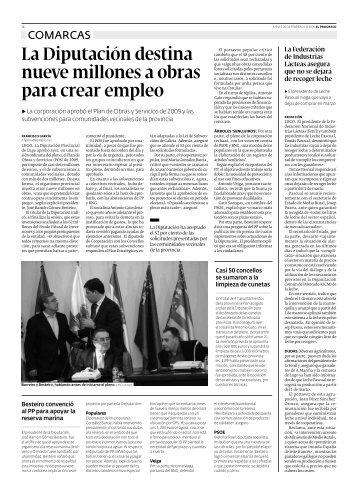 La Diputación destina nueve millones a obras para ... - El Progreso