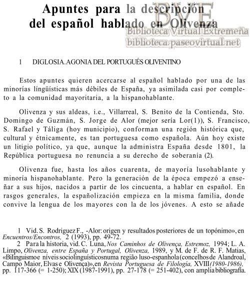 Apuntes para la descripción del español hablado en Olivenza; (88 Kb)