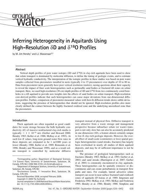 Inferring Heterogeneity in Aquitards Using High-Resolution D and ...