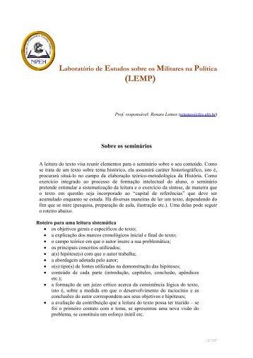 Sobre os seminários - IFCS - UFRJ