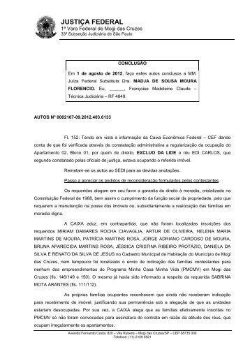 Íntegra da decisão - Justiça Federal de Primeiro Grau em São Paulo