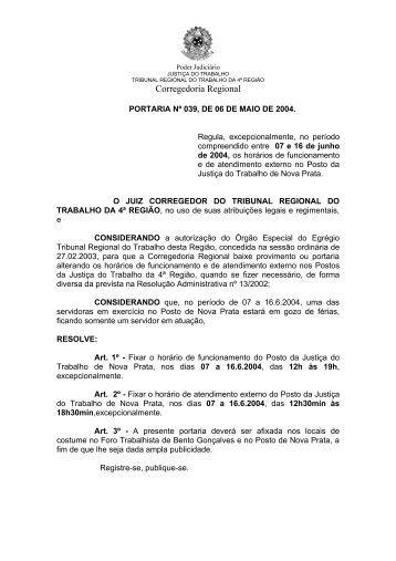 PORTARIA nº 014/99 - Tribunal Regional do Trabalho da 4ª Região