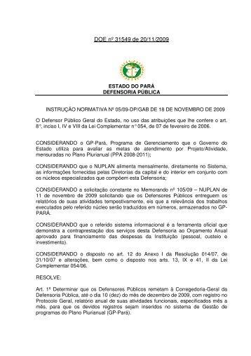 DOE nº 31549 de 20/11/2009 - Defensoria Pública do estado do Pará