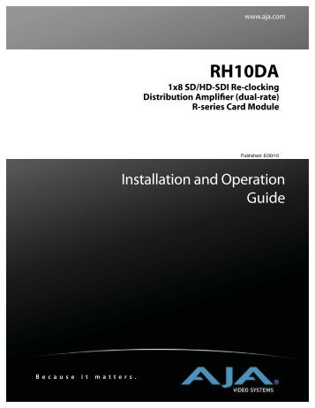 Rh10da - 1x8 sd/hd-sdi re-clocking distribution amplifier (dual - Aja