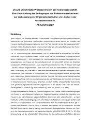 De jure und de facto: Professorinnen in der Rechtswissenschaft ...