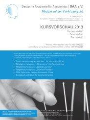 KURSVORSCHAU 2013 - Deutsche Akademie für Akupunktur