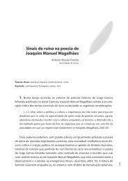 """""""Sinais de ruína na poesia de Joaquim Manuel Magalhães"""": António ..."""