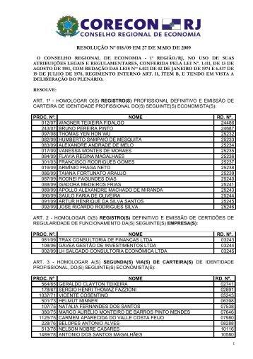 resolução nº 018/09 em 27 de maio de 2009 - CORECON-RJ