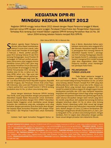 KEGIATAN DPR-RI MINGGU KEDUA MARET 2012