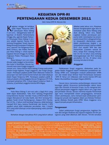 KEGIATAN DPR-RI PERTENGAHAN KEDUA DESEMBER 2011