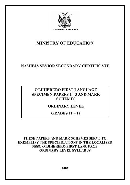 Otjiherero First Language NIED