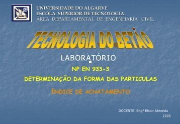 NP EN 933-3 - Universidade do Algarve
