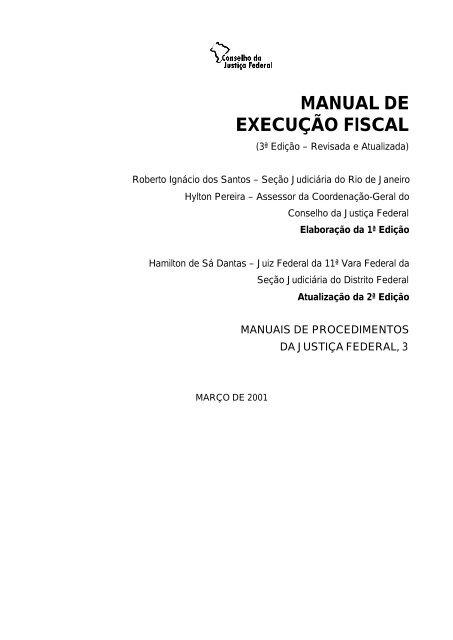 Manual De Execução Fiscal Conselho Da Justiça Federal