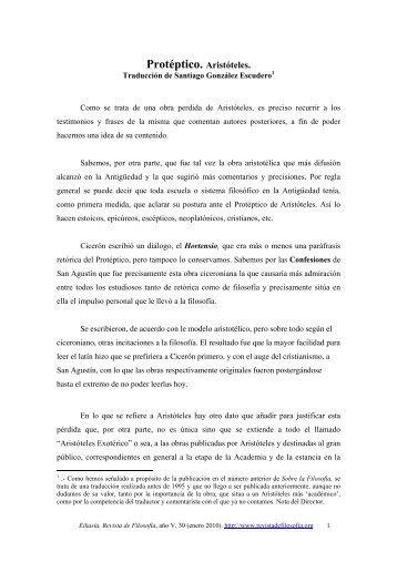 Protéptico. Aristóteles. - EIKASIA - Revista de Filosofía