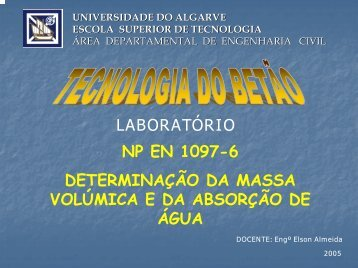 NP EN 1097-6 - Universidade do Algarve