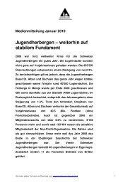 Medienmitteilung Januar 2010 ... - Schweizer Jugendherbergen
