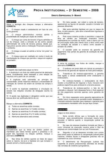 Direito Empresarial II - Matutino - UDF