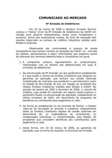 COMUNICADO AO MERCADO - cadip - Rio Grande do Sul