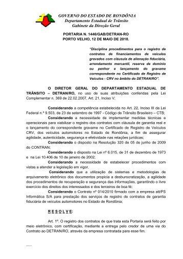 GOVERNO DO ESTADO DE RONDÔNIA Departamento ... - Detran RO