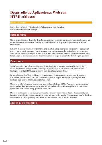 Desarrollo de Aplicaciones Web con HTML::Mason - Barcelona Perl ...