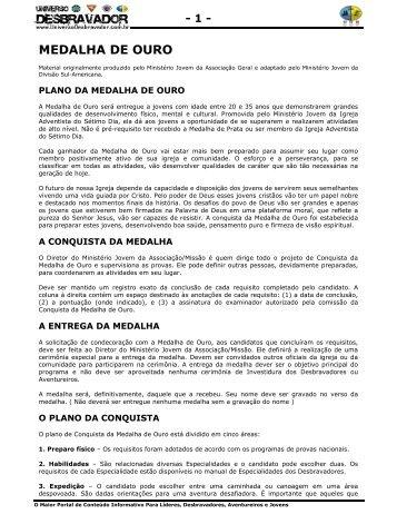 MEDALHA DE OURO - UNIVERSO DESBRAVADOR