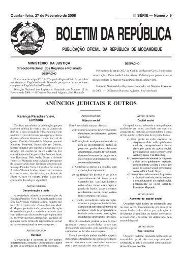 BR - N.º 9 III SÉRIE 2007 - Portal do Governo de Moçambique