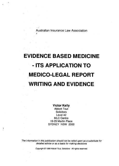 evidence based medicine - its application to medico-legal
