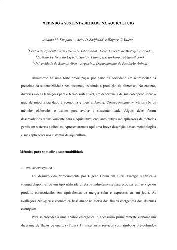 medindo a sustentabilidade na aquicultura - Associação Brasileira ...