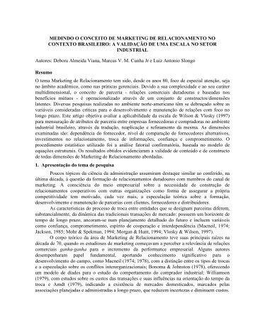 MEDINDO O CONCEITO DE MARKETING DE ... - Anpad