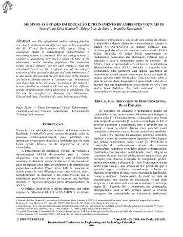MEDINDO AS ÊNFASES EM EDUCAÇÃO E ... - WWW2 - Udesc