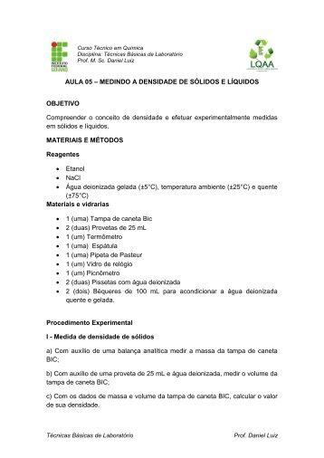 AULA 05 – MEDINDO A DENSIDADE DE SÓLIDOS E LÍQUIDOS ...