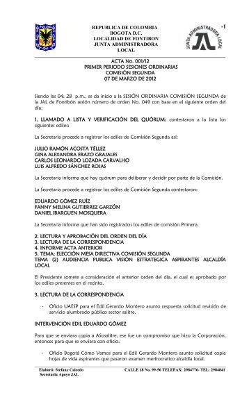 ACTA No 001-03-12 ORDINARIA COMISIÓN SEGUNDA
