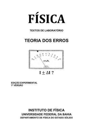 teoria dos erros - Instituto de Física da UFBA - Universidade Federal ...