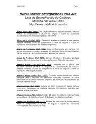 NATALI BRINK BRINQUEDOS LTDA.-ME Lista de Especificação do ...